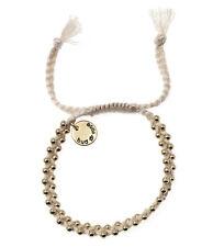 Magnifique Bracelet Fantaisie Coton Blanc  Doré Bud to Rose