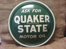 """Vintage Quaker State Motor Oil Domed Sign 24"""" > Antique Gas Station 9764"""