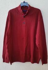 New! Men's Alan Flusser XXL Mock Turtleneck Sweater Burgundy Cable Knit