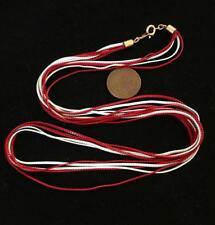 "Vintage 24"" Enameled Red & White 4 Strand Snake Chain Necklace"