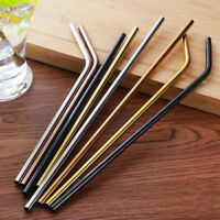 1x Stainless Steel Drinking Straws Straight/Bent Reusable Washable Metal Brush