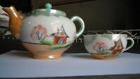 Vintage Small Lusterware Teapot & Matching Cup Set for One Japan