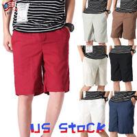 New Men Half Pants Summer Shorts Beach Casual Elastic Loose Oversize Pockets US