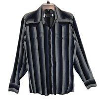Panhandle Slim Mens 15.5 36 Gray Pearl Snap Button Up Shirt Western Flap Pocket
