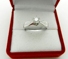 Solitaire Round Cut Real Diamond 0.25 ct Engagement 14k White Gold Ring