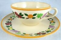 Vintage Franciscan Pottery Small Fruit Tea Coffee Flat Cup Saucer Set 7 Avail
