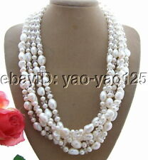 Excellent! 5Strds White Pearl&Crystal Necklace