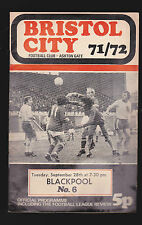 Bristol City Football Club Programme v Blackpool- September 28 1971 Soccer