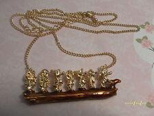 N008 Lovely Disney Snow White Vintage Style Cute Seven Dwarf Golden Necklace *