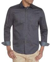 Tallia Mens Shirt Gray Size 2XL Button Down Slim Fit Paislet Stretch $88 #148