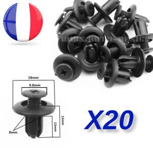 x20 Clips Fixation Universel Voiture Agrafe Pare-choc Pare-Boue Garniture 8mm ++