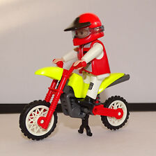 PLAYMOBIL MOTO TRIAL KTM BLEUE MOTARD  JAUNE ROUGE 5525 OCCASION COURSE PILOTE