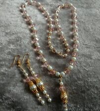 Ladies 22ct gold plated baby pink & Crystal glass pearl Necklace & Earring Set
