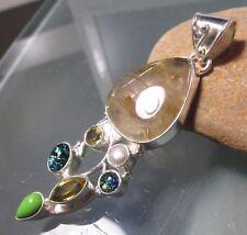 925 silver 16gr rutilated quartz, dichroic glass & gemstones pendant.
