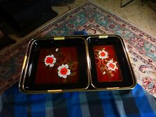 Vintage LACQUER WARE Asian Vanity Display Serving Tray Set Of 3 W/ Handles VG !