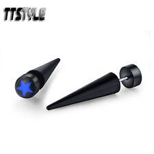 TTstyle 8mm Blue Star Clear Epoxy UV Acrylic Spike Earrings A Pair