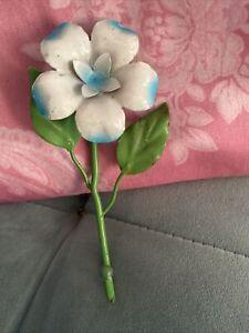 Vintage Italian Tole Metal Flower Blue & White Wall Hook Italy