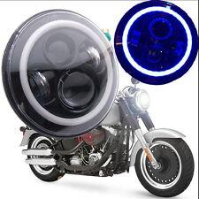 "1x 7"" Inch CREE LED Headlight Angel Eyes Blue Halo Ring DRL Jeep Wrangler JK TJ"
