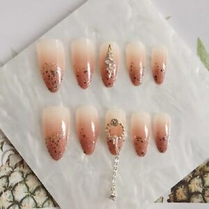 Nude Gradient Glitter Sequin With Rhinestones False Press on Nails Manicure Tool