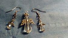 Crystal angel pendant and earrings set