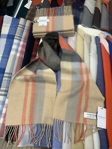 100% Lambswool tartan Scarf by Lochcarron | Belses Camel | Made in Scotland