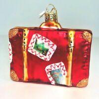 Red Suitcase Glass Christmas Ornament Kurt Adler Noble Gems Bon Voyage Hanging
