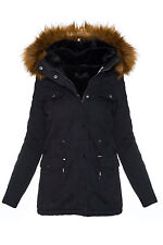 Damen Winter Jacke Kunstfellfutter Parka warm Kapuze mit Kunstpelz D-242 NEU
