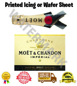 Moet Champagne Label Edible Wafer Icing Cake Topper