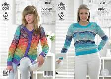 King Cole 4183 Knitting Pattern Sweater and Cardigan in King Cole Opium Palette