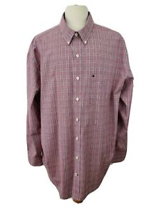Izod Premium Big & Tall  3XL Red Navy Plaid Button Front Business Casual Shirt