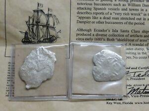 ISLA DE MUERTO Shipwreck Pair of Silver 8 Reale Cobs 1600's Santa Clara Island