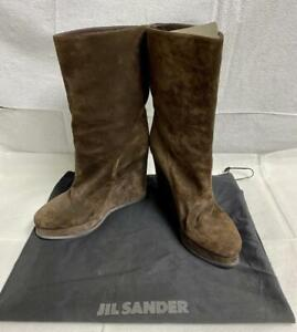Gorgeous Brown Suede Wedge Boots by Jil Sander Size 41 IT / 9 US Made in Italy