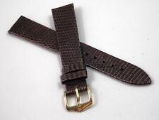 "Hirsch Mens Vintage Watch Band Water Resistant Brown Lizard 16mm 5/8"" Gold Tn Bk"