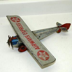 Vintage Tin Litho Girard Airways Express, Wind Up Toy Airplane, Silver