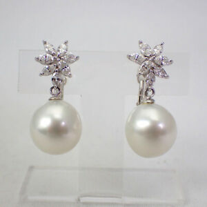 [Used] Pt900 South Sea White Butterfly Pearl Diamond 13mm Earrings [g531-26]