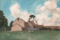 GEESE IN FARMYARD LANDSCAPE Antique Watercolour Painting c1930 IMPRESSIONIST