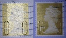 ERROR/VARIETY GB USED GOLD 1ST SECURITY STAMPS - TYPE 2/2A U-SLITS 2009 / MSIL