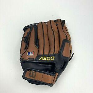 """Wilson A500 Baseball Glove 11 1/2"""" 11.5 RHT Throw Ecco Leather Brown/Black A0500"""