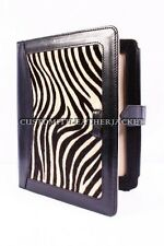 New iPad 2 3 & 4 Black Zebra Print Luxury Real Genuine Leather Cover Case Stand