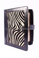 Nuevo iPad 2 3 & 4 Negro Zebra Print de LUJO Cubierta de cuero genuino real con soporte