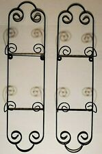 Set of 2 - Curly Cue 2 Plate Vertical Wall Display Hanger Holder Black Metal