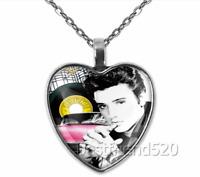 Elvis Presley Photo Tibet Silver Cabochon Glass Heart Pendant Elvis Necklace