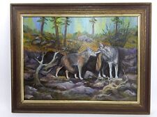"Original Coyote Oil Painting 1996 Artist Signed Jewell M Burns 23""x 17"""