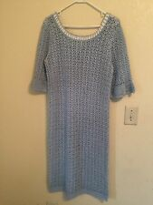 Vintage Hand Made one of a kind  Baby Blue Knit Dress, Medium size