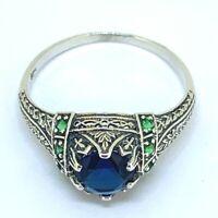 Saphir Ring  synth. Saphir & Smaragde   925er Silber ANTIK STYLE  # 57