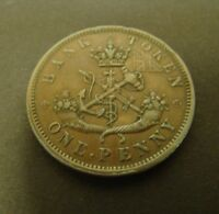 1857 CANADA PENNY Bank Token  XF Upper Canada Bank Foreign Coin One Penny 1c  #2