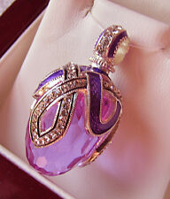 SALE ! GORGEOUS RUSSIAN PENDANT HANDMADE OF STERLING SILVER ENAMEL with AMETHYST