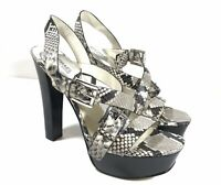 MICHAEL KORS GREY SNAKESKIN LEATHER HEELS SANDALS BUCKLE STRAPPY SIZE 10M