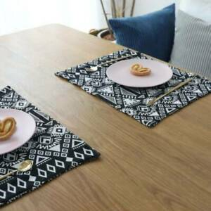 Double-sided Jacquard Ethnic Style Cotton Linen Household Western Placemat BS