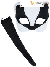 Childs Badger Mask + Tail Fancy Dress Boys Girls Animal Accessory Kids Costume
